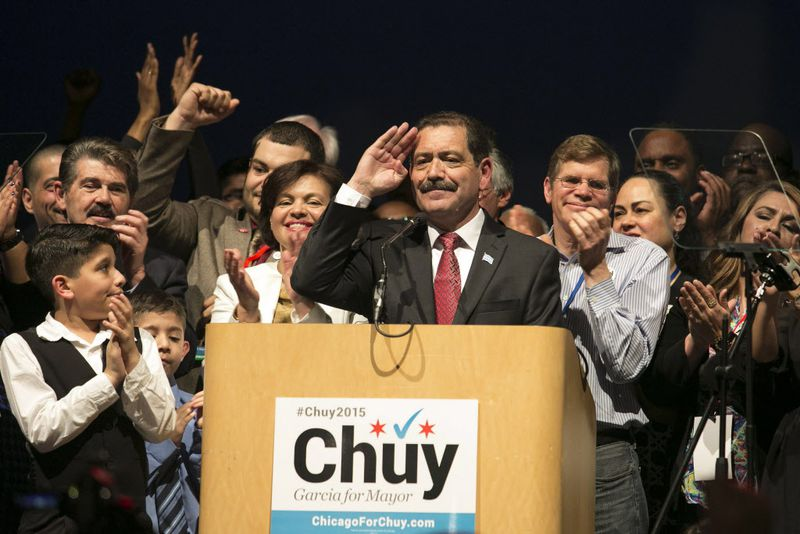 """Then mayoral candidate Jesus """"Chuy"""" Garcia at an election night rally in 2015."""