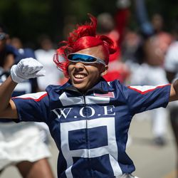 A dancer performs during the Bud Billiken Parade Saturday.