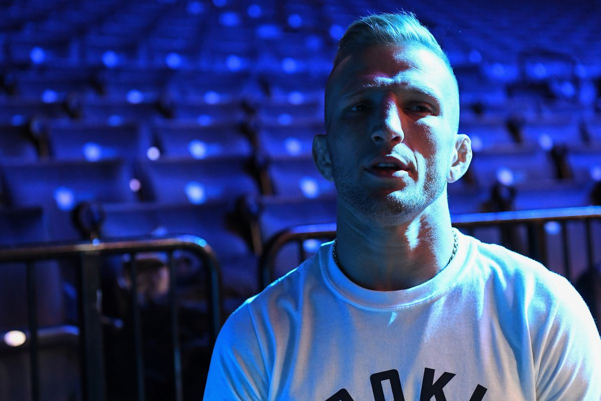 TJ Dillashaw before the weigh-ins for his fight against Henry Cejudo at UFC Brooklyn.