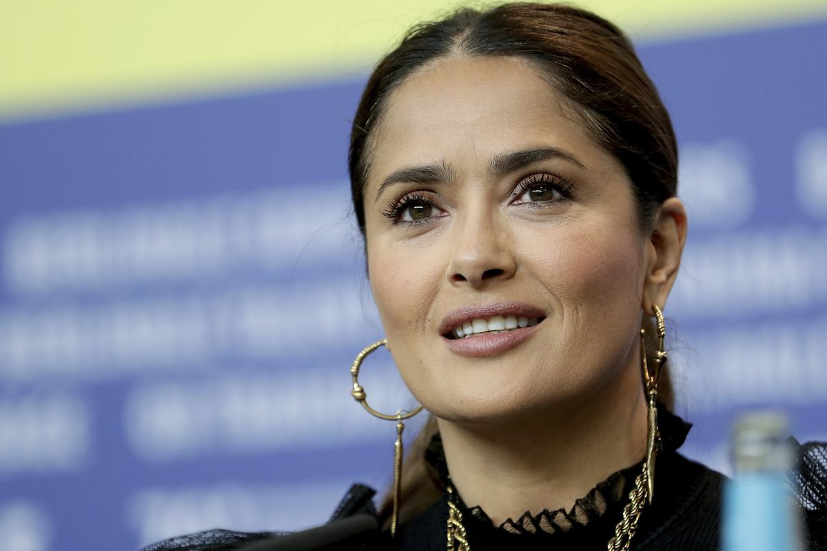 Actress Salma Hayek attends a press conference for the film 'The Roads Not Taken' in Berlin, Germany.
