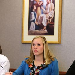 Sister Haley Furstenau, from Chicago, Ill., takes notes as sister missionaries gather at a training meeting for the Nevada Las Vegas Mission Friday, March 14, 2014, in Las Vegas.