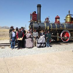 Reenactments of the historic ceremony are performed weekly at Golden Spike National Monument.