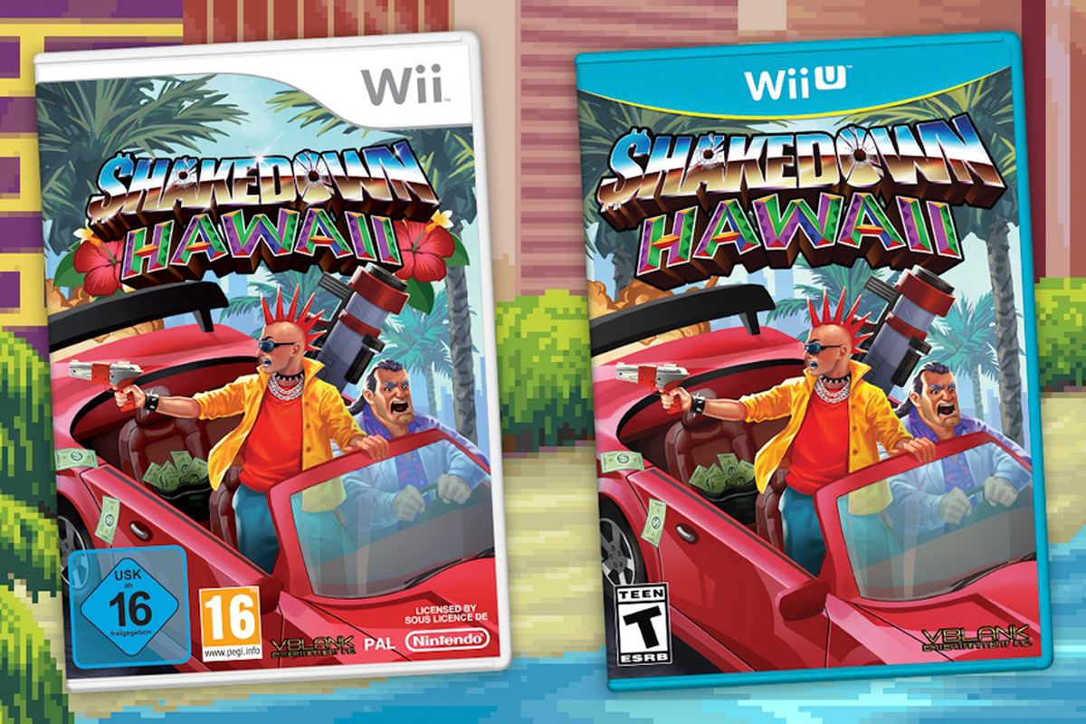 Cover art for the Wii and Wii U versions of Shakedown: Hawaii