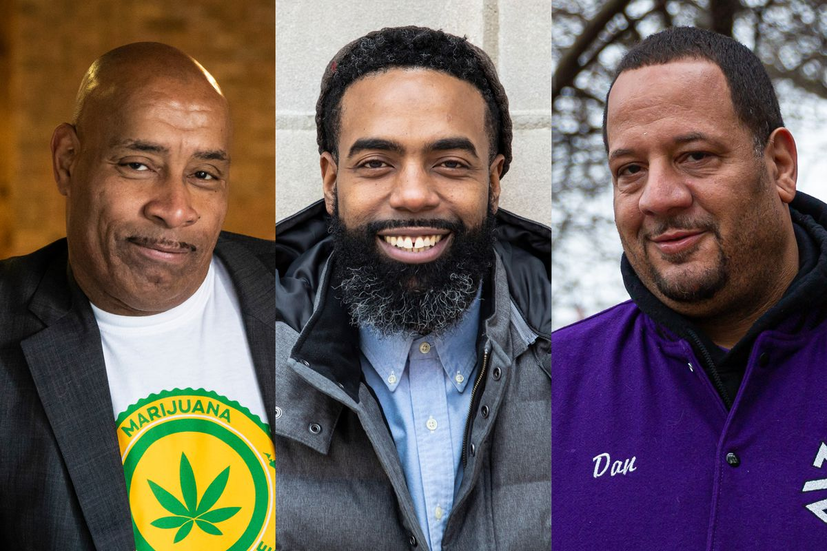 Vincent Norment (from left), Michael Malcolm and Dan Pettigrew all hope to get licenses to run marijuana businesses in Illinois.