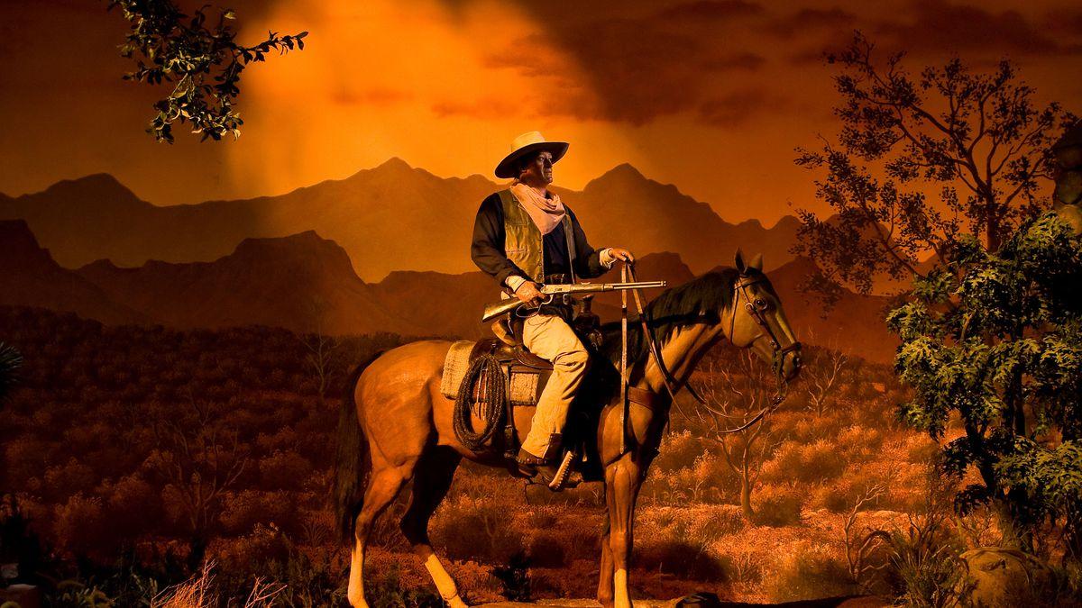 Photo of Animatronic John Wayne and Horse at Disney's MGM Hollywood Studios in Orlando Florida USA.