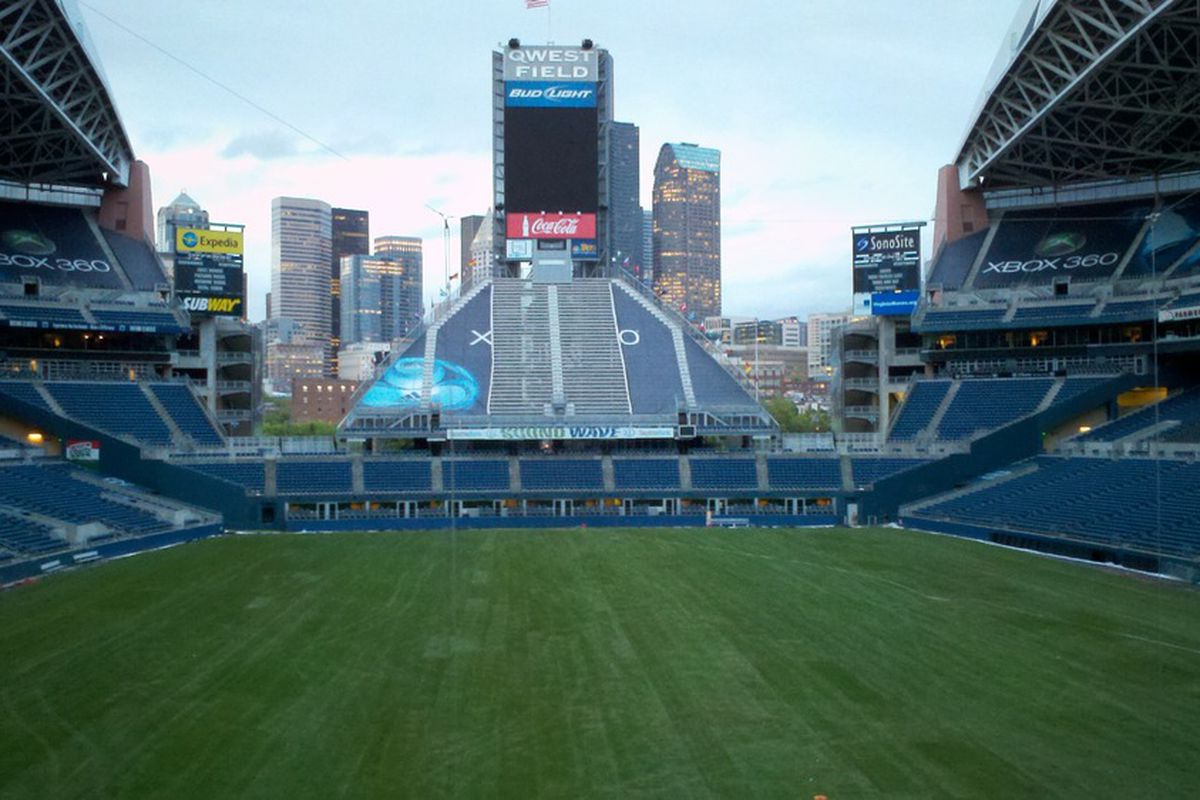 The newly laid grass field at CenturyLink Field. (Photo courtesy of JB Instant Lawn)