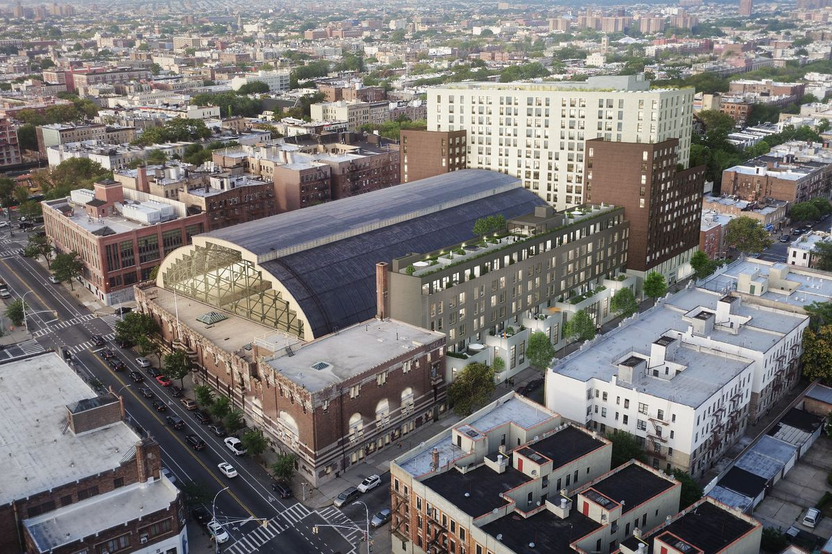 Ariel view of Bedford-Union Armory in Crown Heights