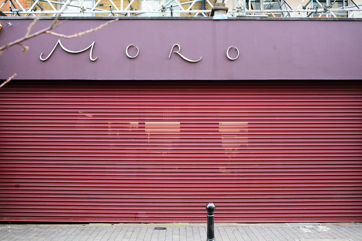 Moro, with its shutters down, on Exmouth Market last week during the coronavirus lockdown in London