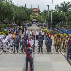 A National Cadet Corp (NCC) student leads a parade during the 71st Independence Day celebrations at the MIT World Peace University in Pune, Maharashtra, India, on August 15, 2017.