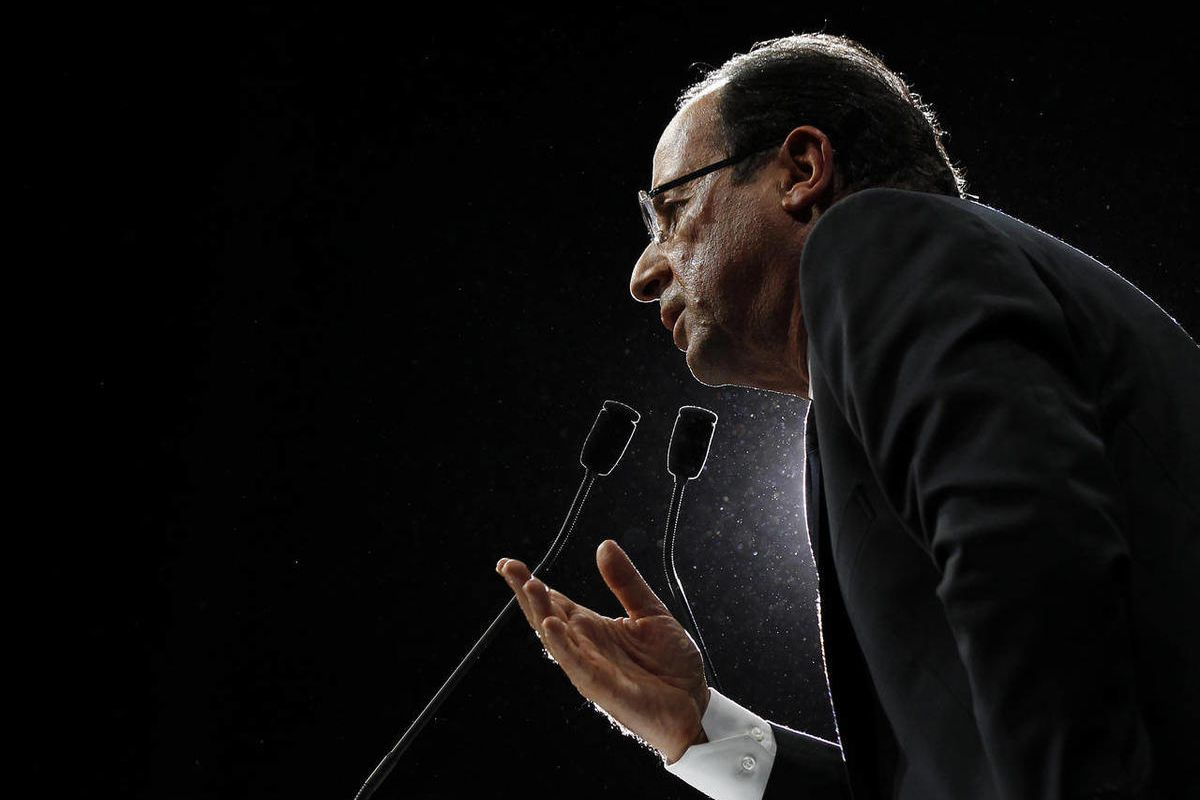 French Socialist Party candidate for the 2012 presidential elections Francois Hollande delivers his speech during a meeting in Limoges, central France, Friday, April 27, 2012 as part of his campaign for the second round of the French presidential election