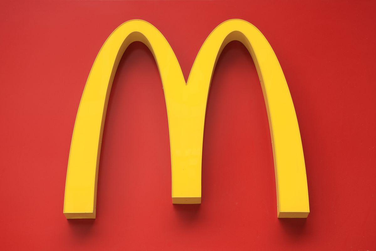 The yellow McDonald's logo against a red background.