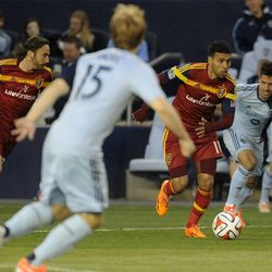 Real Salt Lake's Javier Morales races down field with the ball during a game at Sporting Park in Kansas City, Kan., on Saturday, April 5, 2014.