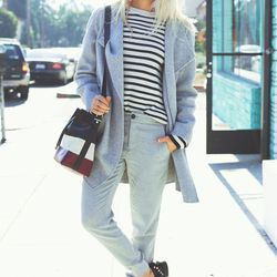 """Shea of <a href=""""http://peaceloveshea.com""""target=""""_blank"""">Peace Love Shea</a> is wearing Vince <a href=""""http://www.intermixonline.com/product/vince+ribbed+cuff+trouser-+charcoal.do?country=US&utm_source=4441350&utm_campaign=CommissionJunction&utm_medium=A"""