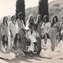 """Father Yod and his 13 wives, who apparently loved maxi dresses. [Image via <a href=""""http://www.bostonglobe.com/arts/movies/2013/05/09/movie-review-the-source-family-crunchy-cult-story/YAGp2kJkLXDVZSE1xeD29L/story.html""""target=""""_blank"""">Boston Globe</a>]"""