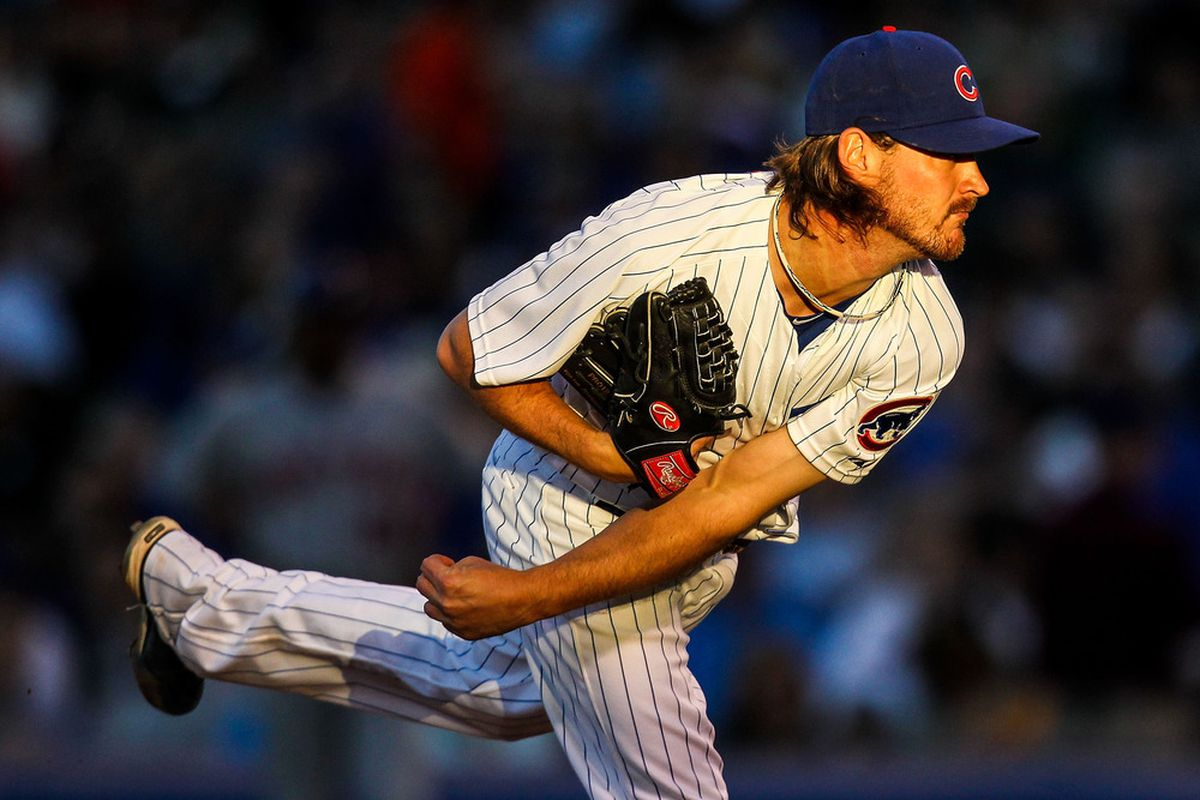 Chicago, IL, USA; Chicago Cubs starting pitcher Travis Wood pitches against the New York Mets at Wrigley Field. Credit: Daniel Shirey-US PRESSWIRE