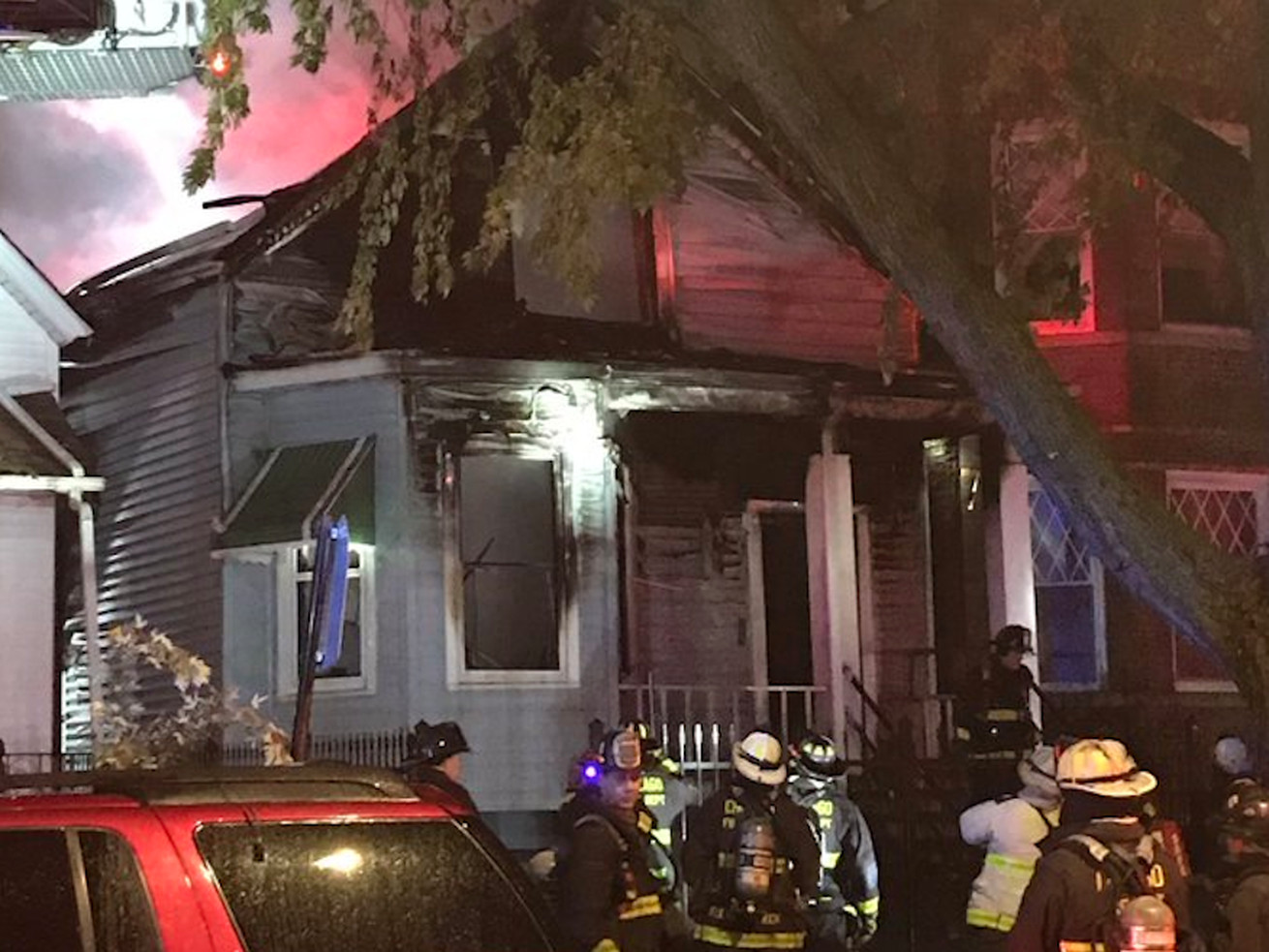 Firefighters are trying to extinguish a fire in Logan Square.