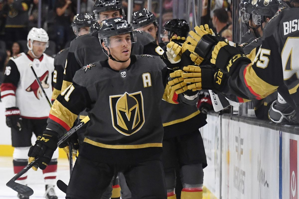 5e552f16e77 Jonathan Marchessault #81 of the Vegas Golden Knights celebrates with  teammates Photo by Ethan Miller/Getty Images