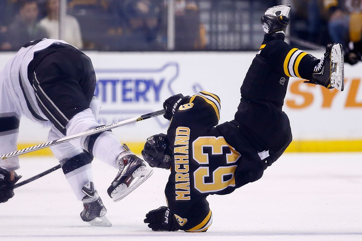 Brad Marchand tries a new shooting angle