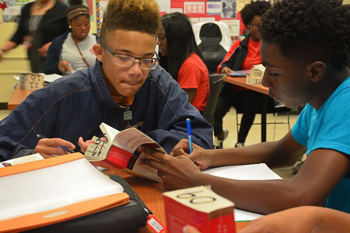 Students work together at Middle College High School, one of only four Shelby County high schools to surpass state averages on the new test.