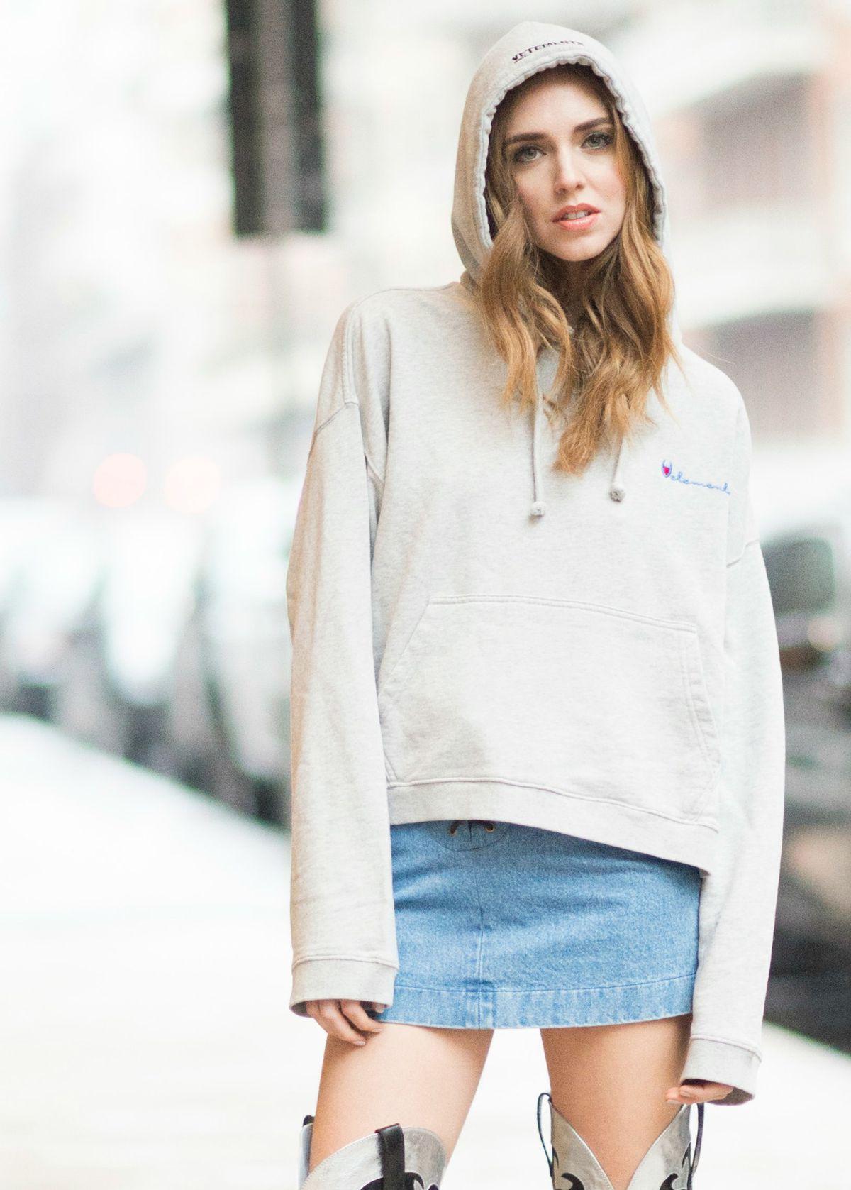Blogger Chiara Ferragni wearing Vetements' Champion-style logo sweatshirt