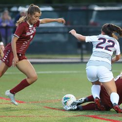 The Colgate Raiders take on the UConn Huskies in a women's college soccer game at Al Marzook Field in Hartford, CT on September 1, 2019.
