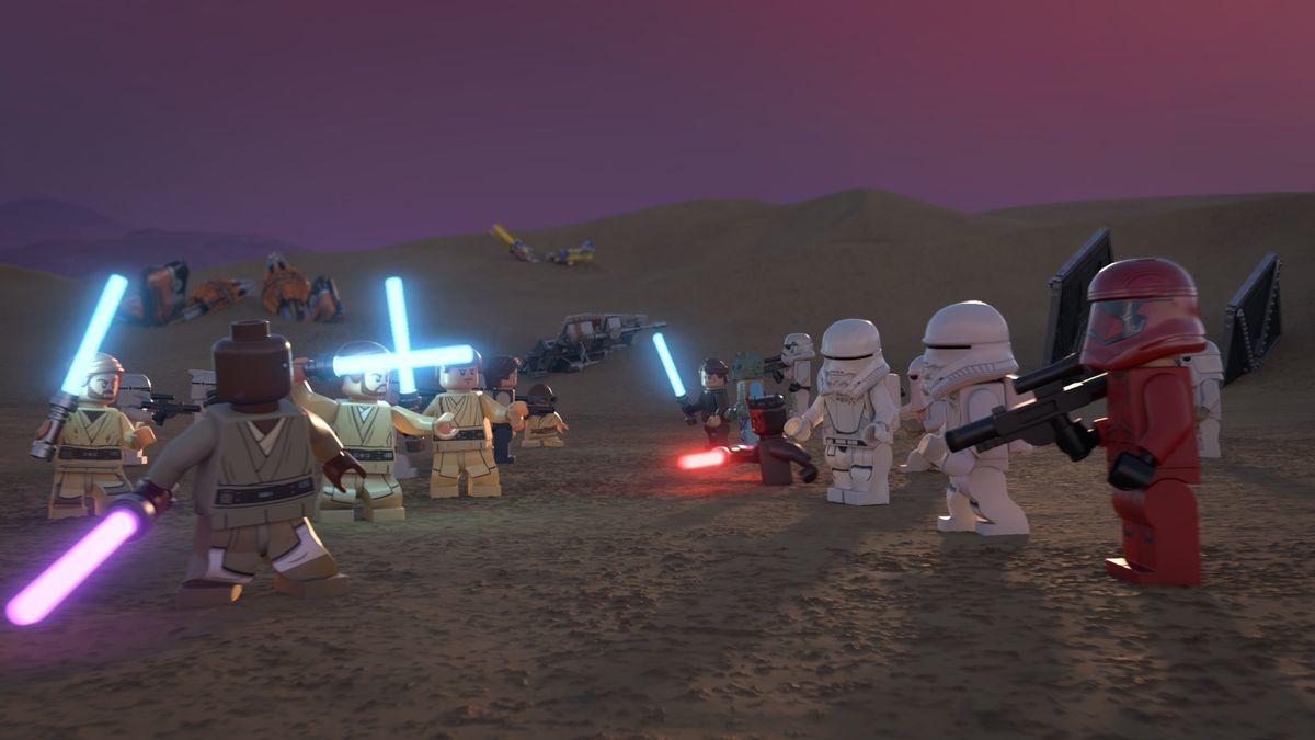 an epic lightsaber battle