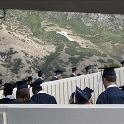 Graduates wind their way along the procession to start BYU's summer commencement exercises at the Marriott Center in Provo on Thursday.