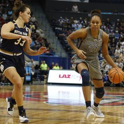 UConn's Azura Stevens (23) looks to dribble past Notre Dame's Kathryn Westbeld (33) during the Notre Dame Fighting Irish vs UConn Huskies women's college basketball game in the Women's Jimmy V Classic at the XL Center in Hartford, CT on December 3, 2017.