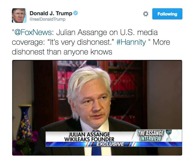 Donald Trump tweet about dishonest media