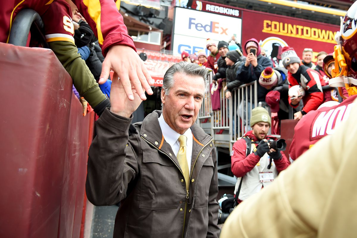 Washington team president Bruce Allen walks on the field prior to the game against the New York Jets at FedExField on November 17, 2019 in Landover, Maryland.