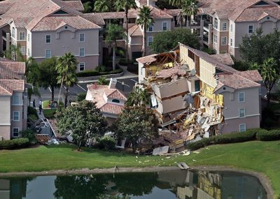 Guests had only 10 to 15 minutes to escape the collapsing buildings at the Summer Bay Resort on U.S. Highway 192 in the Four Corners area, see Monday, August 12, 2013, located about 7 miles east of Walt Disney World resort, where a large sinkhole - about