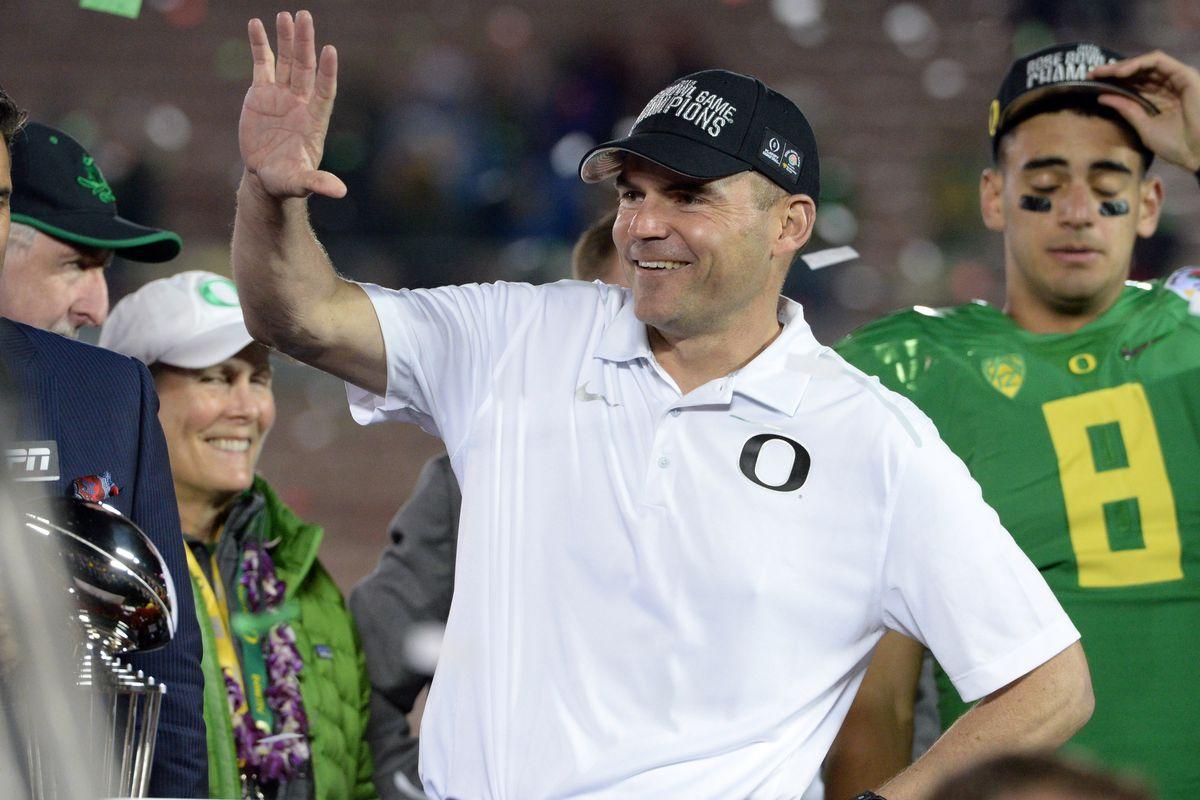 Oregon Coach Mark Helfrich celebrates Rose Bowl win over Florida State.