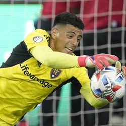 Real Salt Lake goalkeeper David Ochoa stops a shot during the second half of a Major League Soccer match against the Los Angeles FC Saturday, July 17, 2021, in Los Angeles. LAFC won 2-1.