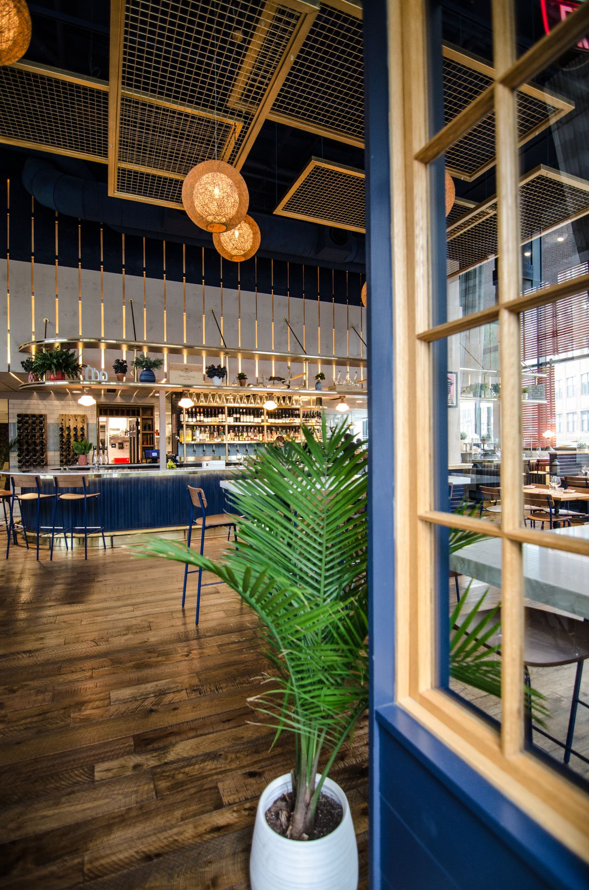 A blue door with pale yellow accents is propped open by a large potted plant to reveal a high-ceilinged restaurant with wooden floor, wooden tables spaced far apart, and blue and yellow accents.