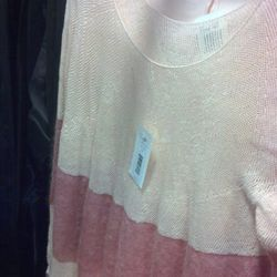 Sheer striped sweater among the samples, originally $250, now $75