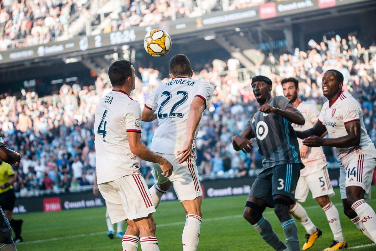 September 15, 2019 - Saint Paul, Minnesota, United States - Aaron Herrera heads a ball away during an MLS match between Minnesota United and Real Salt Lake at Allianz Field (Photo: Tim C McLaughlin)
