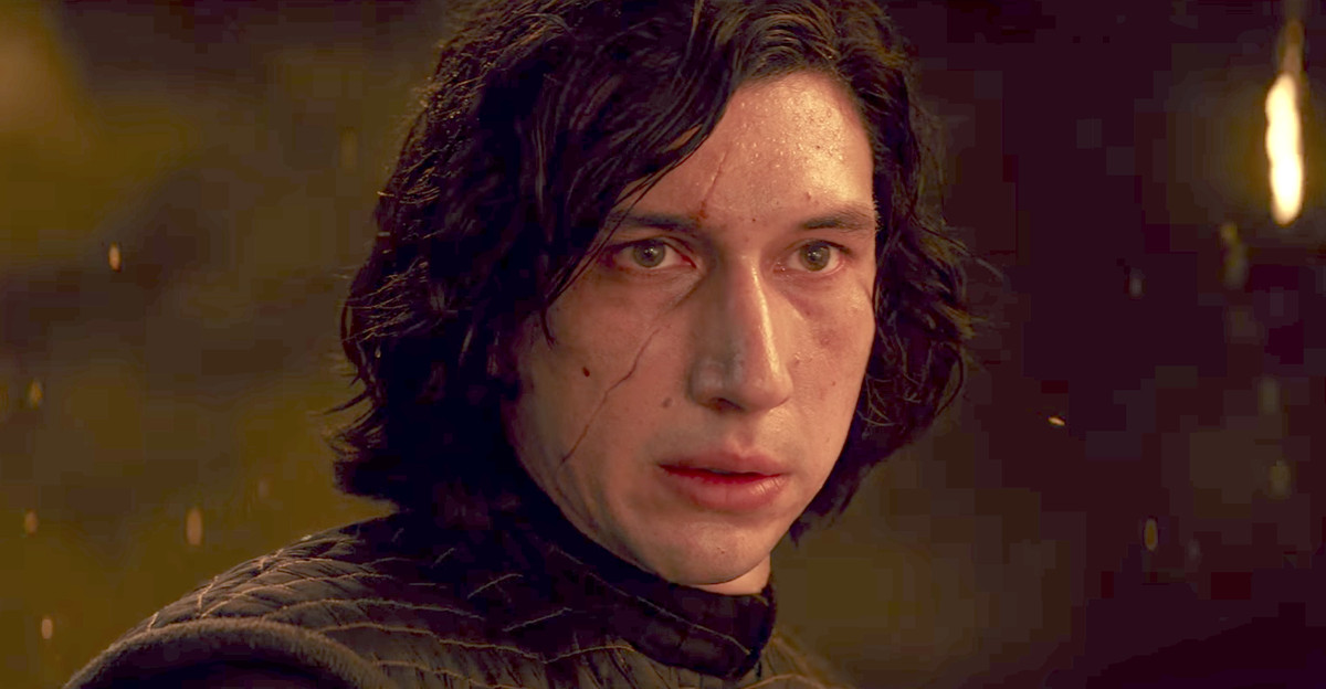 Adam Driver as Kylo Ren, looking extra angsty and in need of redemptive love