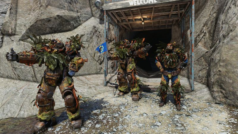 The Strangler Heart armor set for Fallout 76, a set of green armor with vegetative decorations