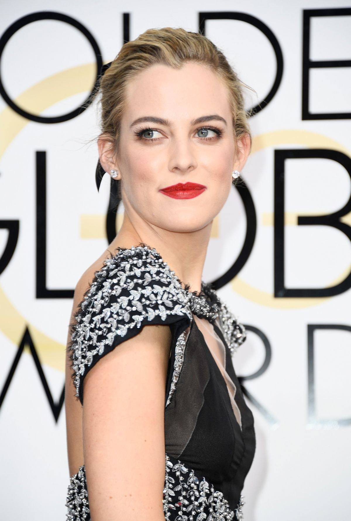 Riley Keough on the Golden Globes red carpet