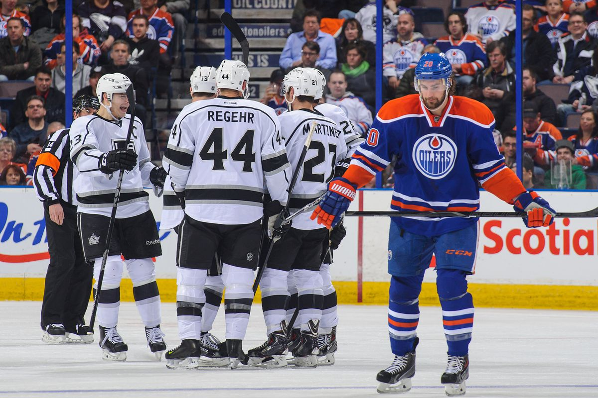 Luke Gazdic and the Oilers' fourth line allow a goal against LA's third line