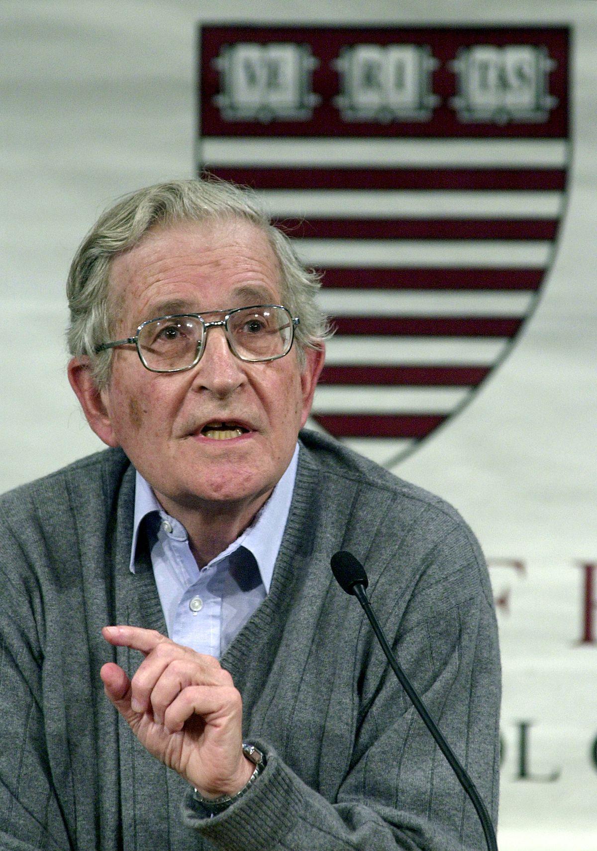 Noam Chomsky speaks at Harvard, in 2002