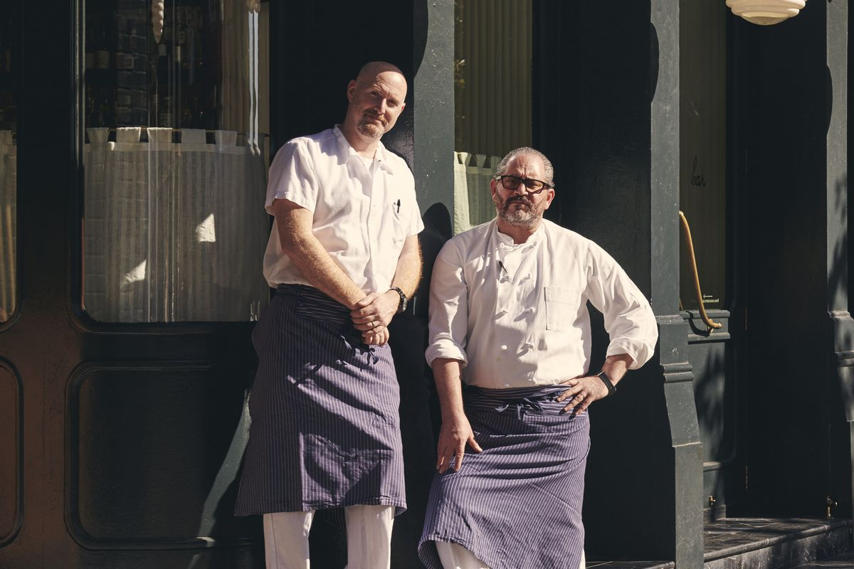 Chefs Lee Hanson and Riad Nasr stand in front of Frenchette