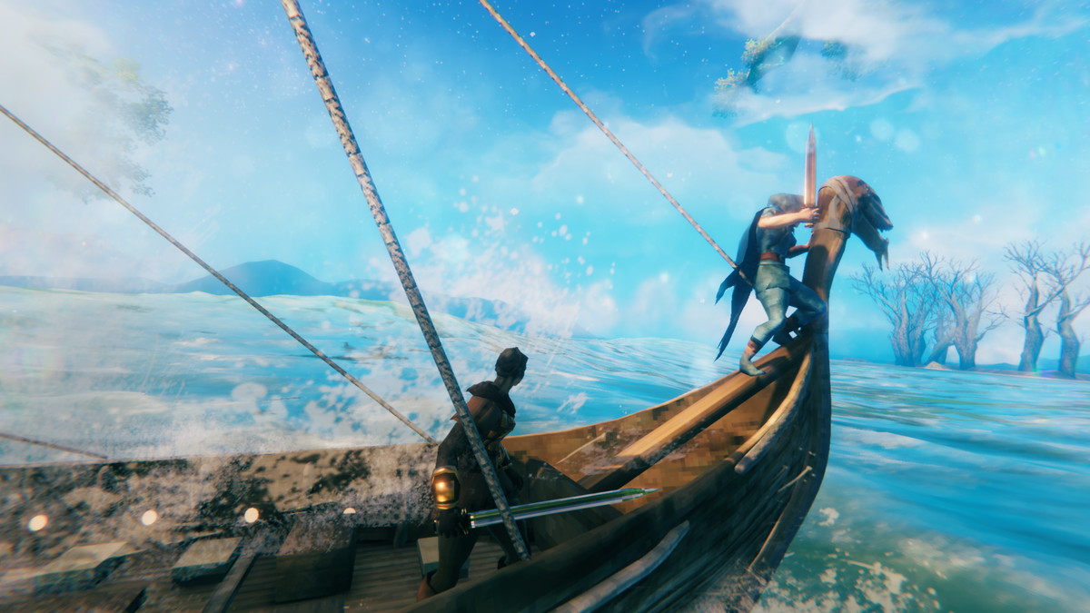 Valheim - two vikings are aboard a longboat, sailing across a clue blue ocean.