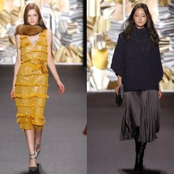 (Left) Tracy Reese Fringed Dress in Amber, $325; (Right) Tracy Reese Sunburst Pleat Skirt in dark graphite (we loved the rich wine-hued version in person), $248<br /><br />