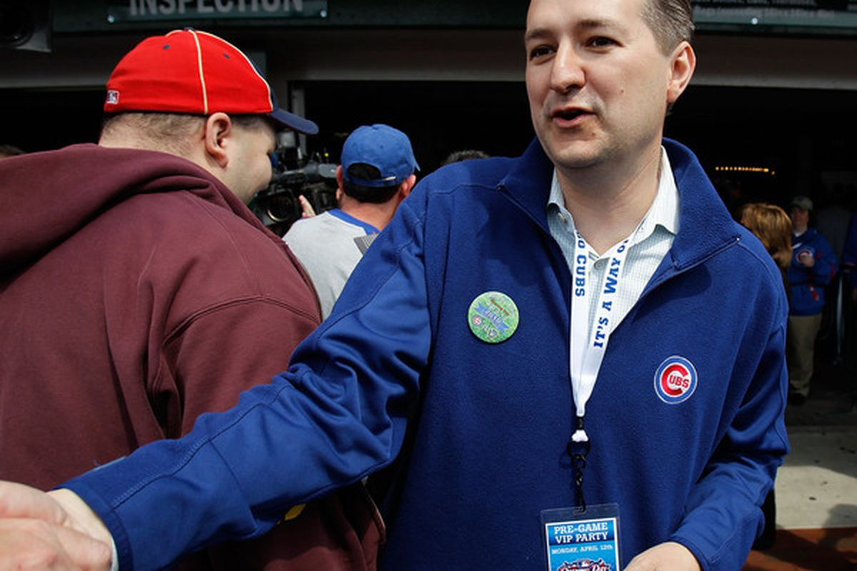 CHICAGO: Tom Ricketts, owner and Chariman of the Chicago Cubs, greets fans before the Opening Day game against the Milwaukee Brewers at Wrigley Field in Chicago, Illinois.  (Photo by Jonathan Daniel/Getty Images)