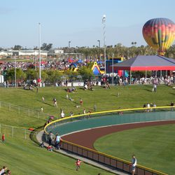 Right-field berm and the party in the park, from the party deck