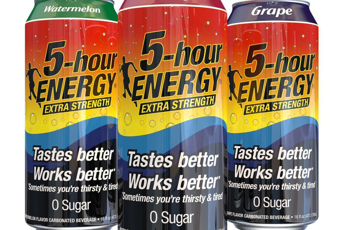 Three 16oz cans of 5-Hour Energy full sized drink. From left to right, flavors are watermelon, berry and grape.