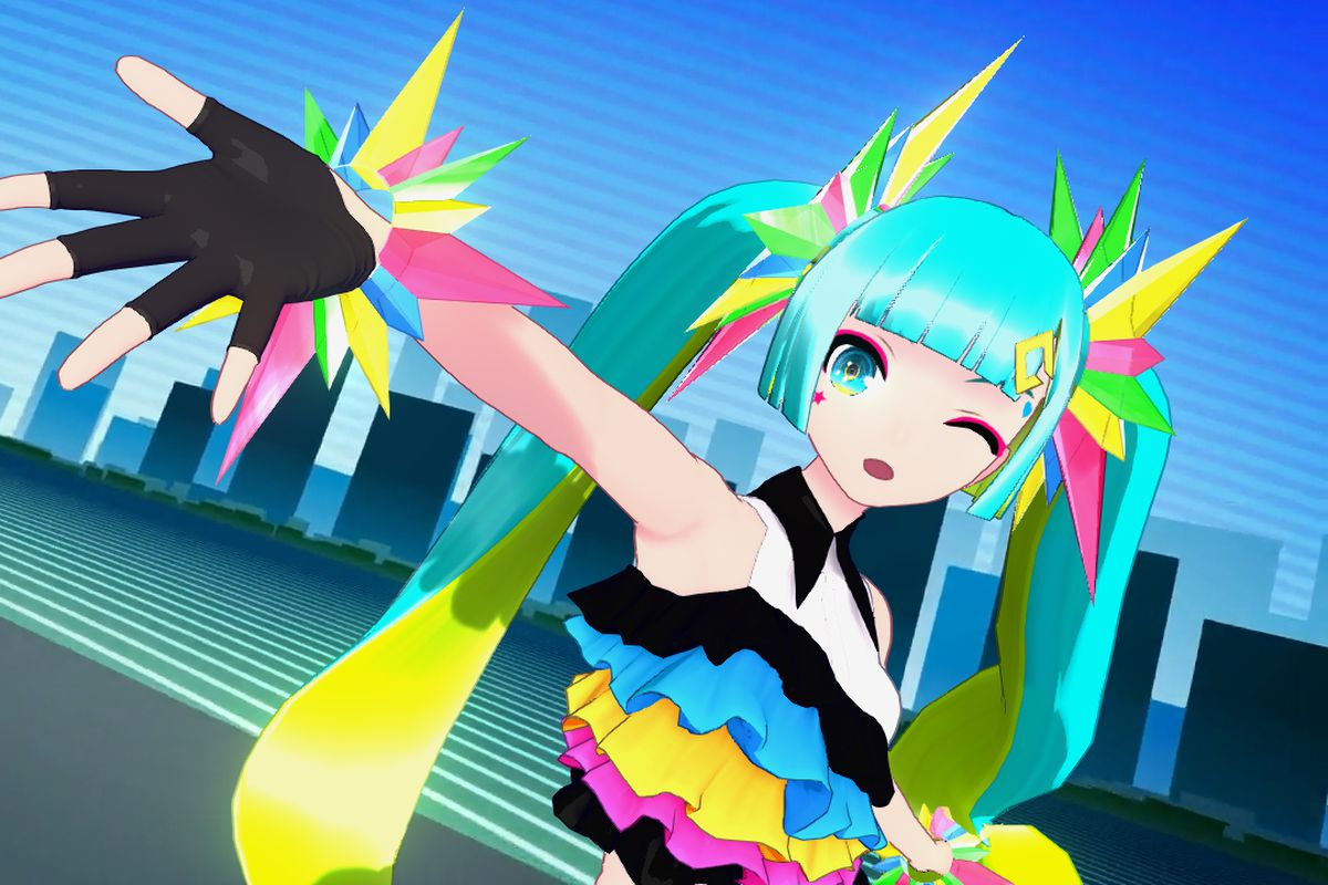 Miku Hatsune in an eccentric outfit extends her hand out