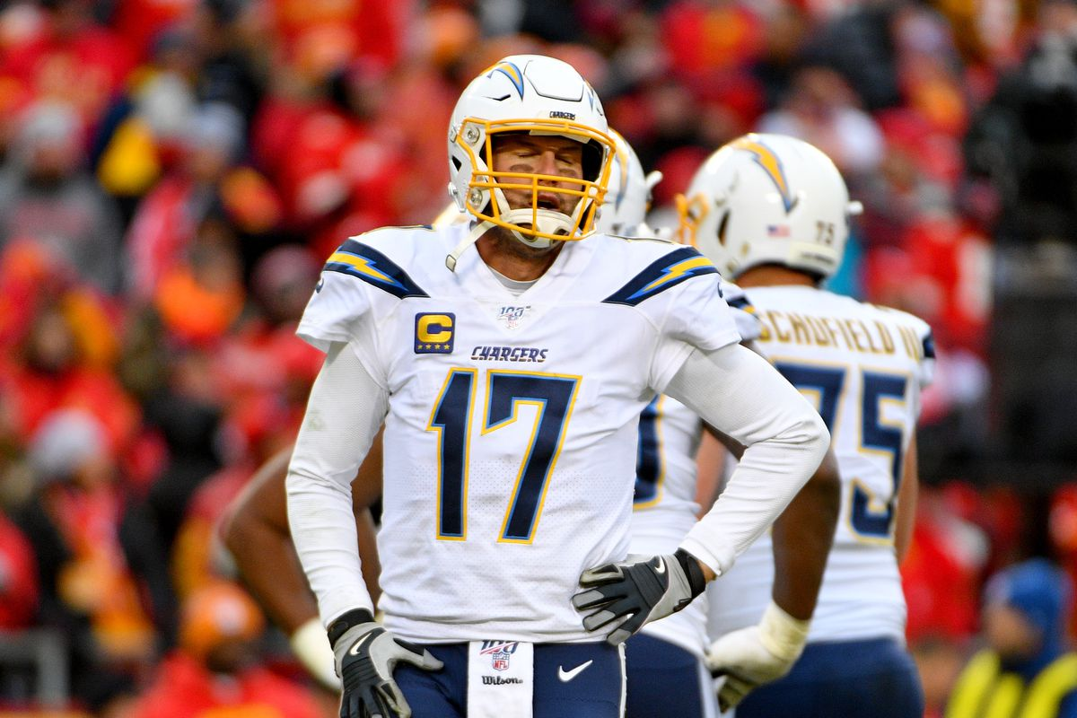 Los Angeles Chargers quarterback Philip Rivers reacts after a dropped pass during the second half against the Kansas City Chiefs at Arrowhead Stadium.