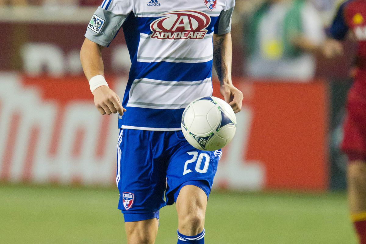 August 18, 2012;  Sandy, UT, USA; FC Dallas midfielder Brek Shea (20) controls the ball during the second half against Real Salt Lake at Rio Tinto Stadium. FC Dallas defeated Real Salt Lake 2-1. Mandatory Credit: Russ Isabella-US PRESSWIRE